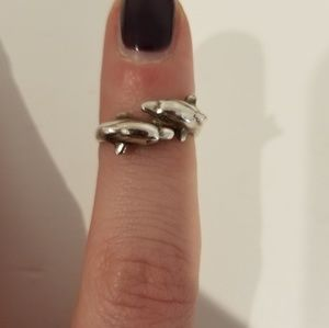 Sterling silver - dolphin toe ring